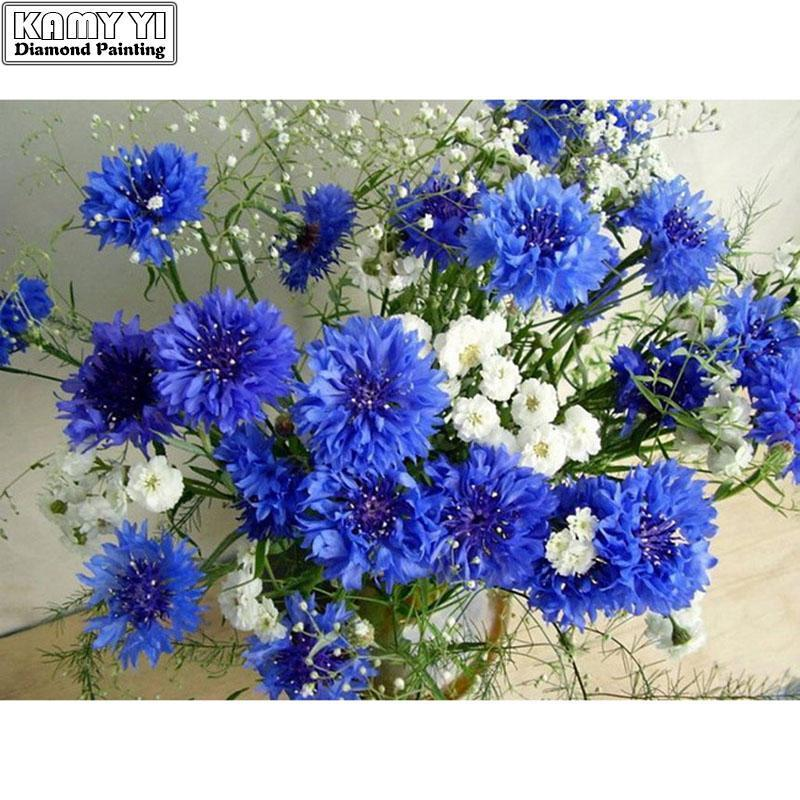 5D DIY Diamond mosaic White & blue flowers - Alilight.net