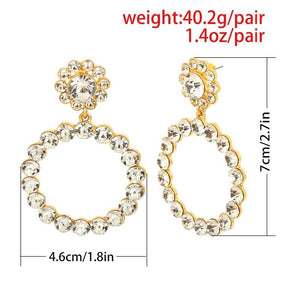 Luxury Rhinestone Earrings For Women Big Heart Pearl Crystal Simple - Alilight.net