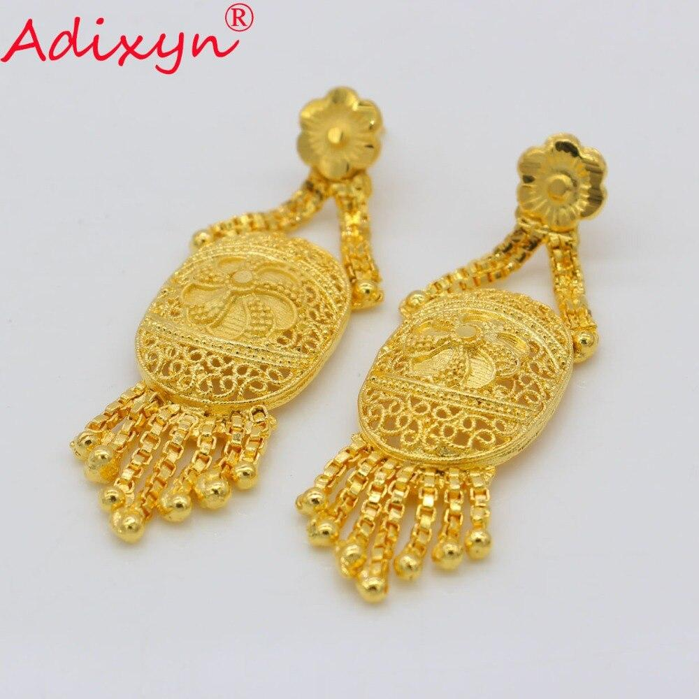 Adixyn Dubai Tassels Drop Earrings Women Gold Color Wedding Jewelry - Alilight.net