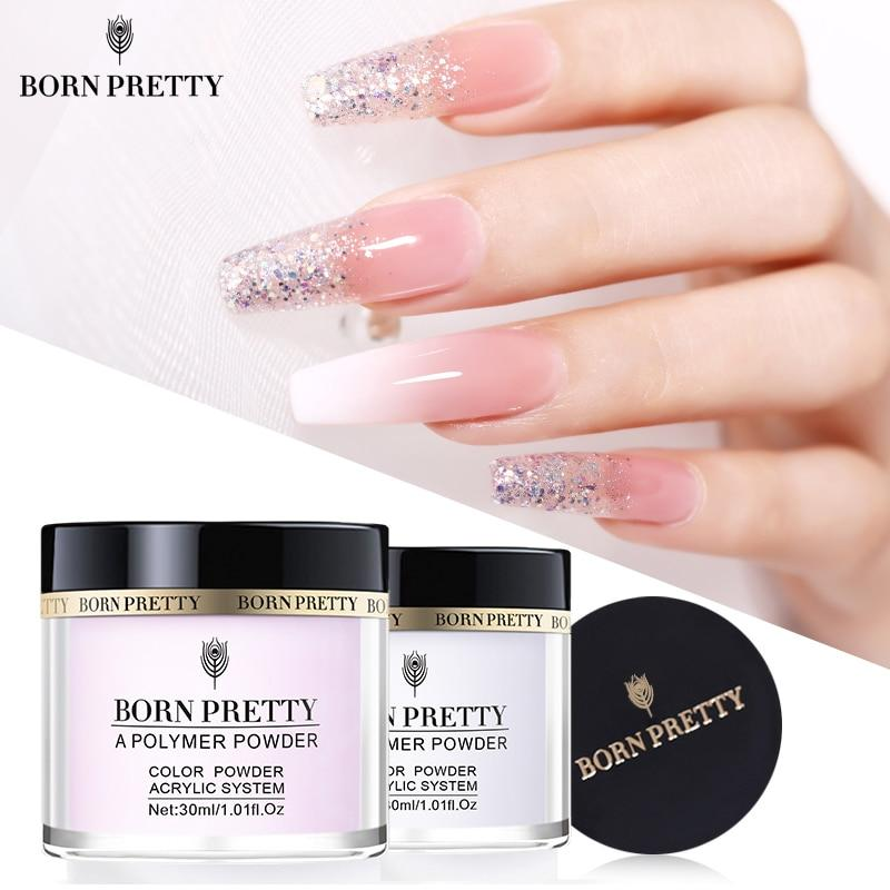 Extension French Pink White Clear Adhesive Rhinestone Nail Art Powder - Alilight.net