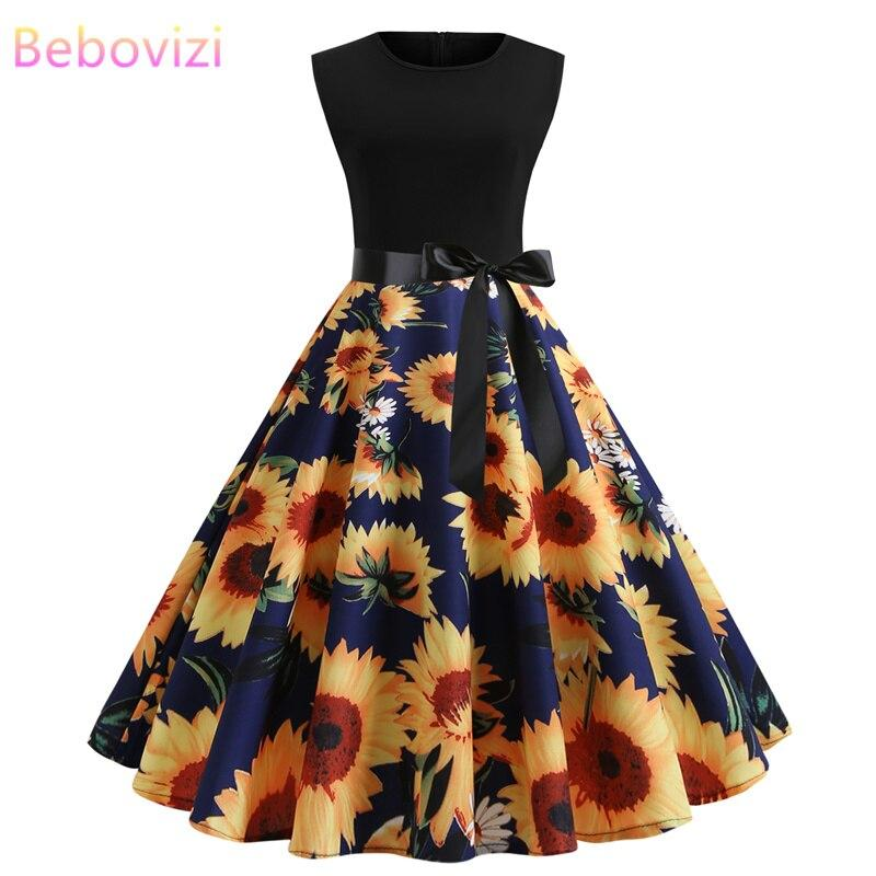 2019 Summer Fashion Women Black Patchwork Sunflower - Alilight.net