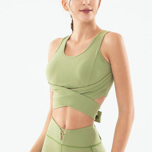 Breathable Women Twist Front Cutout Back Bowknot Yoga Fitness - Alilight.net