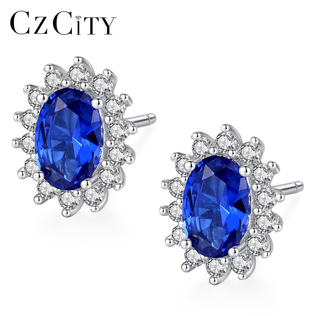 New Natural Birthstone Royal Blue Oval Topaz Stud Earrings - Alilight.net