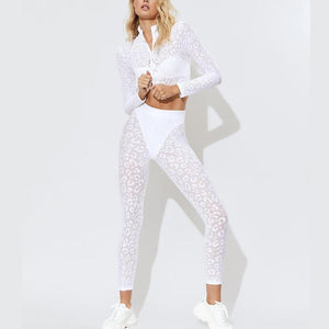 Tracksuit Set young lady attractive 2 piece Set cheetah longer sleevedd - Alilight.net