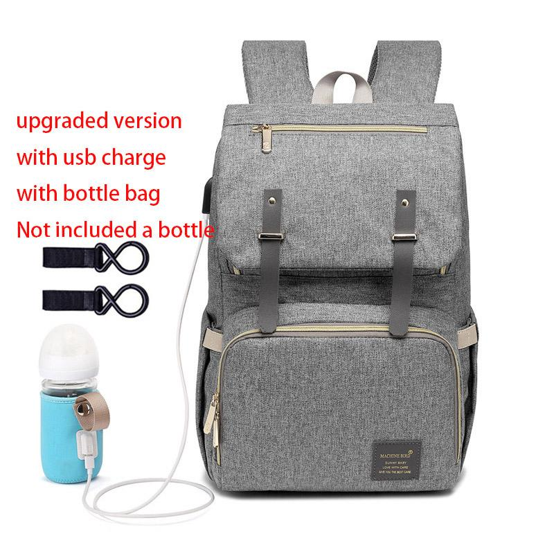 Diaper Bag Backpack for Mom 2019 USB Maternity Baby Care Nappy Nursing - Alilight.net