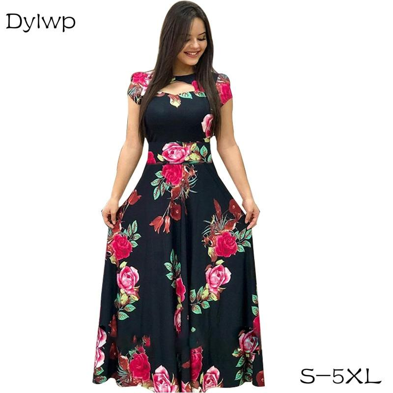 Elegant Women A-Line Long Party Dress Flower Print Tunic Dresses - Alilight.net