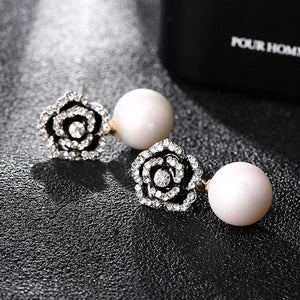 Exquisite Flowers Pearls Luxury Famous Brand Boucles Jewelry Earrings - Alilight.net