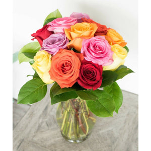 One Dozen Mixed Color Roses - Alilight.net
