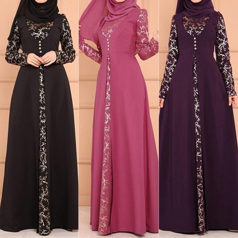 Two Pieces Set Fashion Muslim Lace Maxi Dresses Long Sleeve - Alilight.net