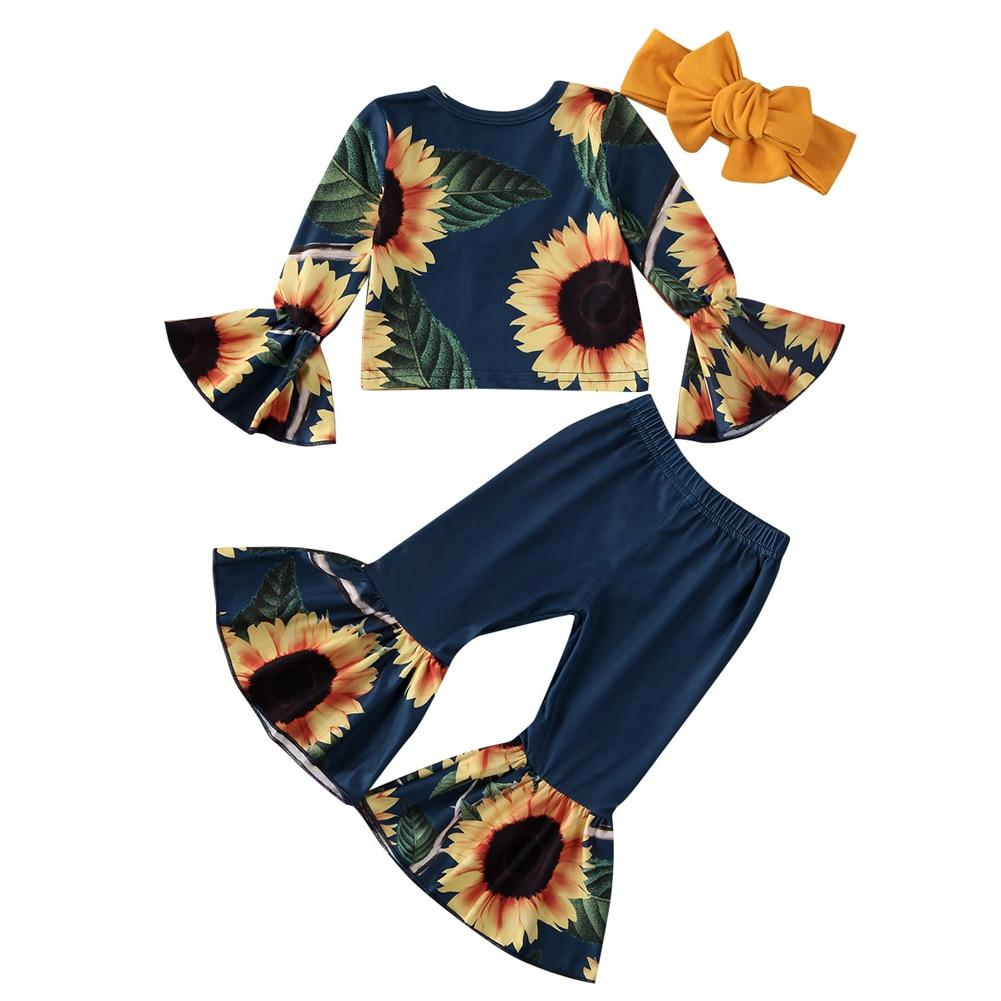 3Pcs Flare Sleeve Off Shoulder Crop Tops Bell-bottoms Pants Headband 0-5Y - Alilight.net