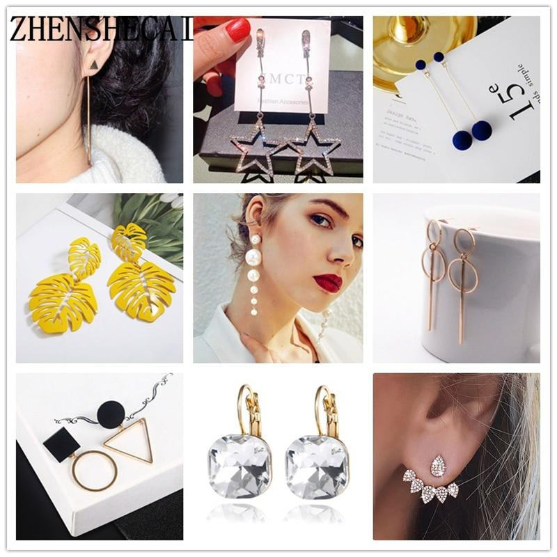 Fashion imitation pearl earrings 2019 leaf crystal tassel star drop earrings - Alilight.net