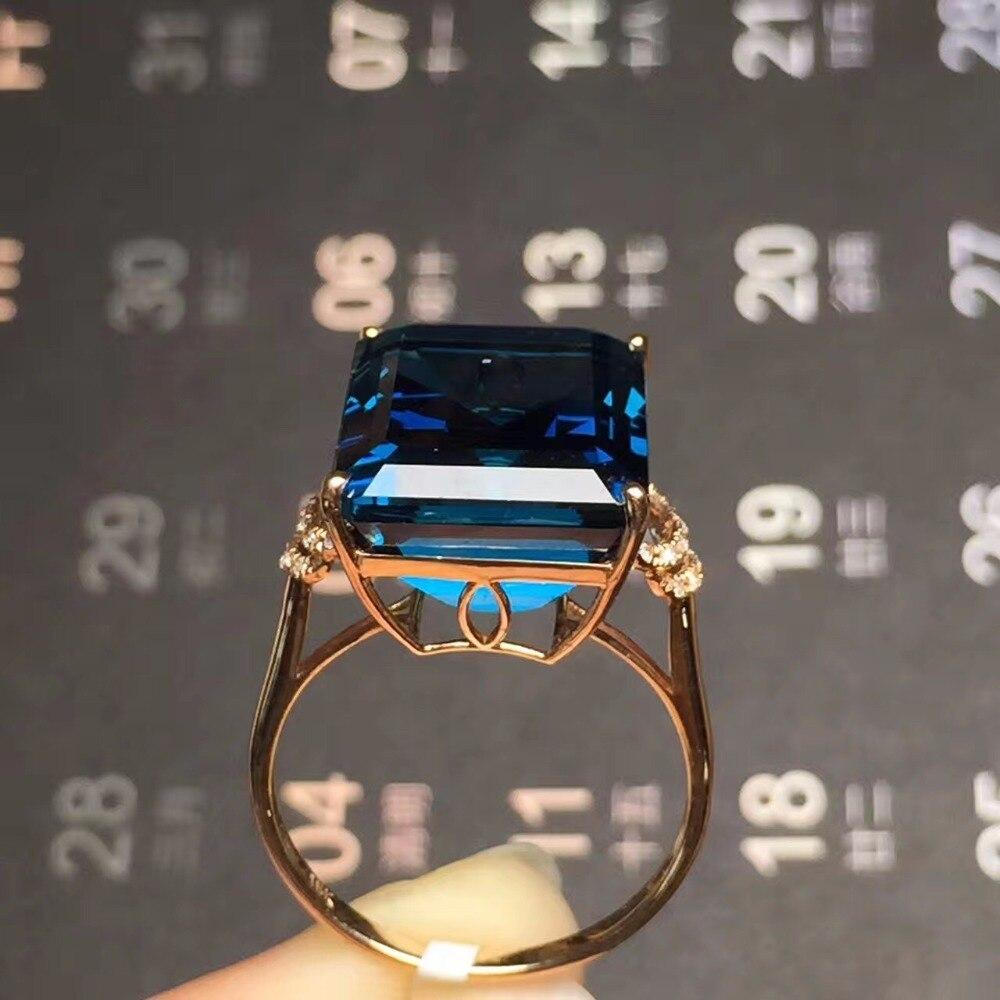 Natural London Blue Topaz Gemstone  Real 18K Rose Gold Rings - Alilight.net