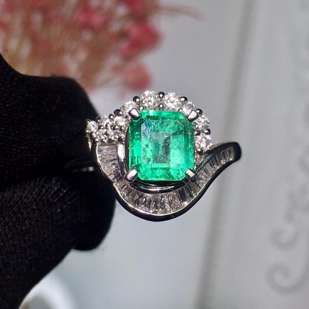 Platinum 100% Natural Vivid Green Emerald Gemstones Ring - Alilight.net