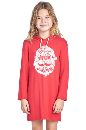 Girls Long Sleeve Hoodies Santa Design - Alilight.net