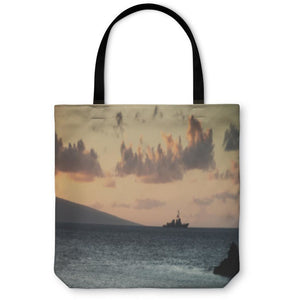 Tote Bag, Us Navy Ship At Sunset - Alilight.net