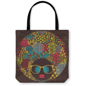 Tote Bag, Black Head Woman With Strange Pattern On Her Hair - Alilight.net