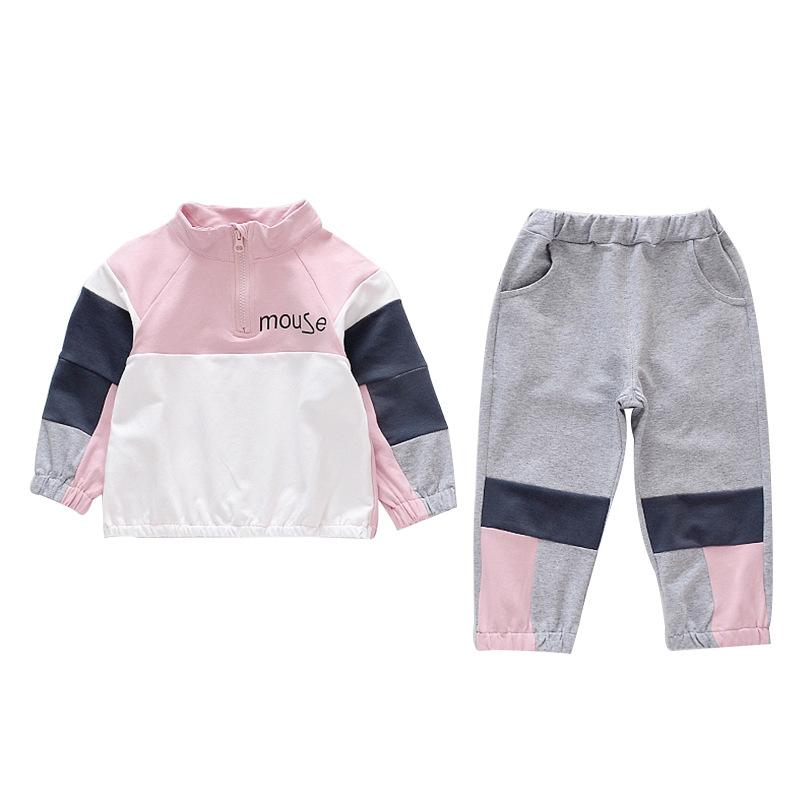 Girls set 2019 spring and autumn new Korean children's letters color matching - Alilight.net