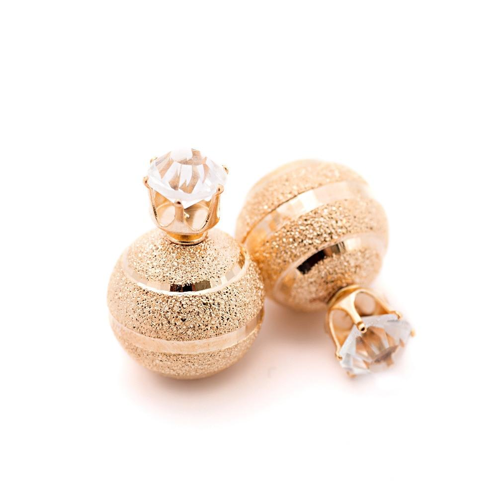 Golden Silver Plated Metal Ball Stud Earring Luxury Scrub Crystal Crown Double Sides - Alilight.net