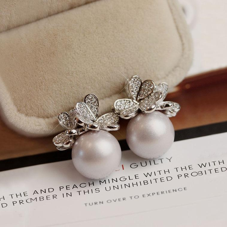 Gorgeous Luxury Three-dimensional Butterfly Frosted Pearl Earrings - Alilight.net