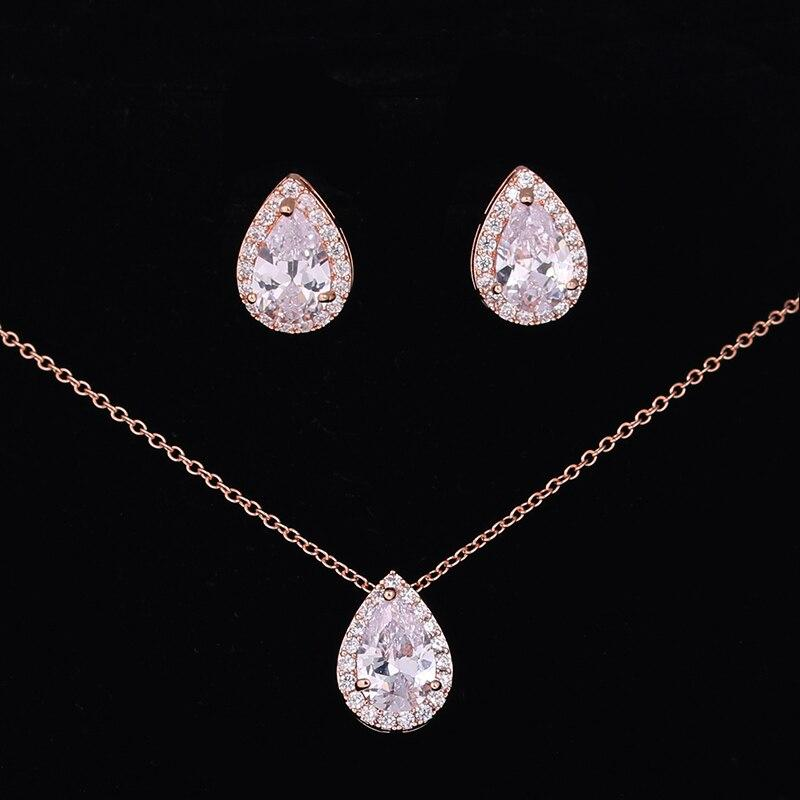 Nigerian Water Drop Cubic Zirconia Wedding Jewelry Sets inlay Luxury - Alilight.net