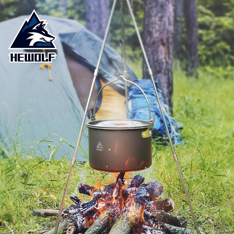 Outdoor Cookware Equipment Tripod Campfire Cooking Pots Camp Cooking - Alilight.net