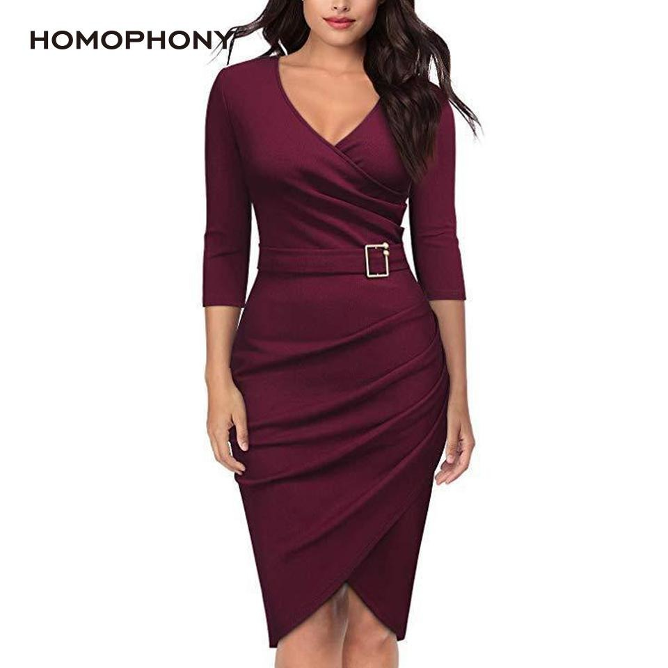 Summer Long Sleeve V Neck Party Midi Work Formal Dress - Alilight.net
