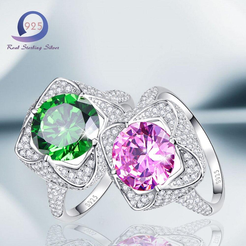 Women Silver Ring with Green & Pink Lab-Created Gemstone - Alilight.net