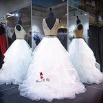 Girls White Champagne Lace Cheap Quinceanera Gowns Vestidos de Quince - Alilight.net