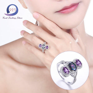 Women's Silver Rings Lab-Created Gemstone Trendy Fashion Jewelry - Alilight.net