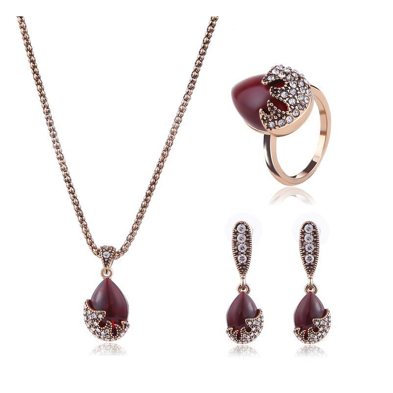 Women Red Gem Crystal Wedding Party Jewelry Sets Imitated Gemstone - Alilight.net