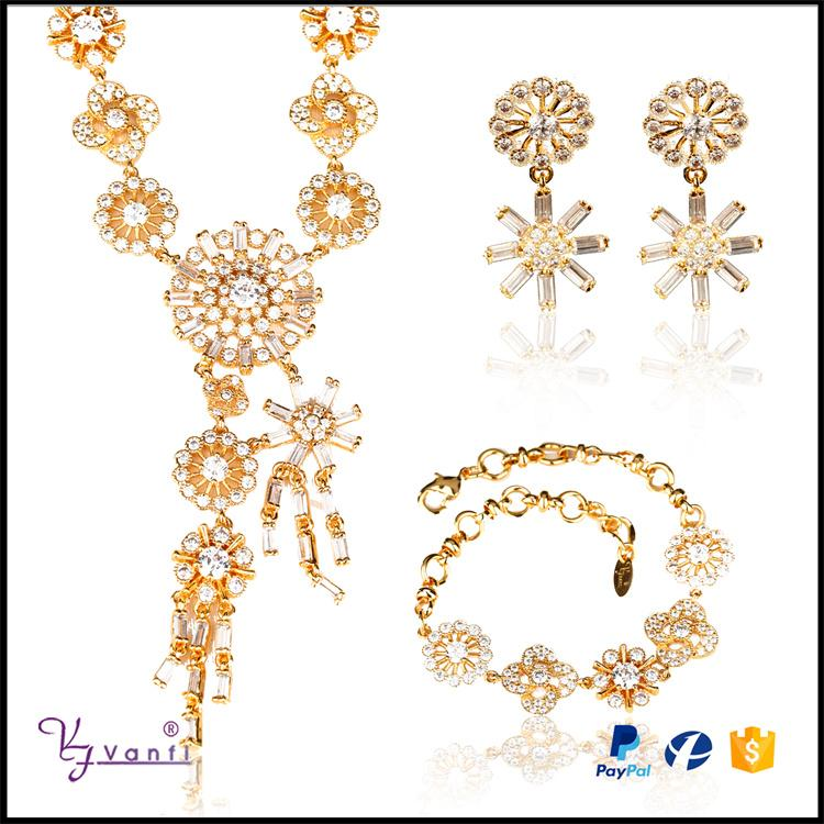 Gemstone Flower Shiny Cubic Zirconia African Bridal Jewelry Sets Party - Alilight.net