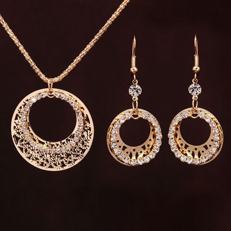 Gold-color Wedding Jewelry Sets Round Shaped - Alilight.net