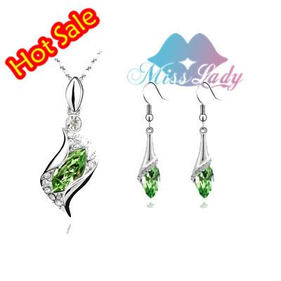 Miss Lady Silver color Rhinestone Korea Angle Crystal Jewelry Sets - Alilight.net