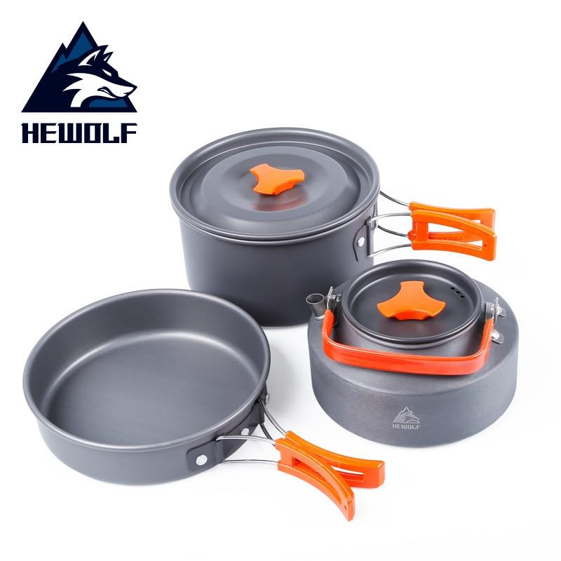 Three-piece Suit 2-3 People Outdoor Camping Portable Cookware Sets Frying Pan - Alilight.net