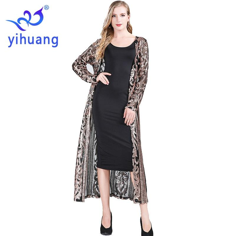 Fashion New Women's Clothing Long Sequin Open Front Long Sleeve - Alilight.net