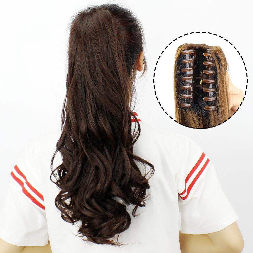 Hongfa show claw clip wig ponytail realistic invisible long curly hair clip-on large - Alilight.net
