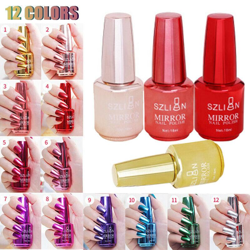 12 Colors Mirror Nail Polish Magic Mirror Effect Chrome Nail Art Polish - Alilight.net