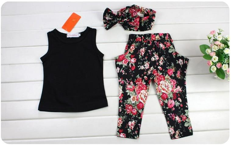 Girls Clothes Sleeveless Black Vest Floral Pants - Alilight.net