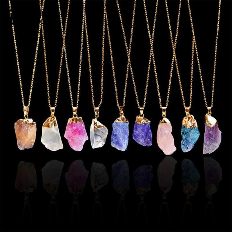 Trendy Alloy Multicolour Natural Stone Chain Necklace Rhinestone - Alilight.net