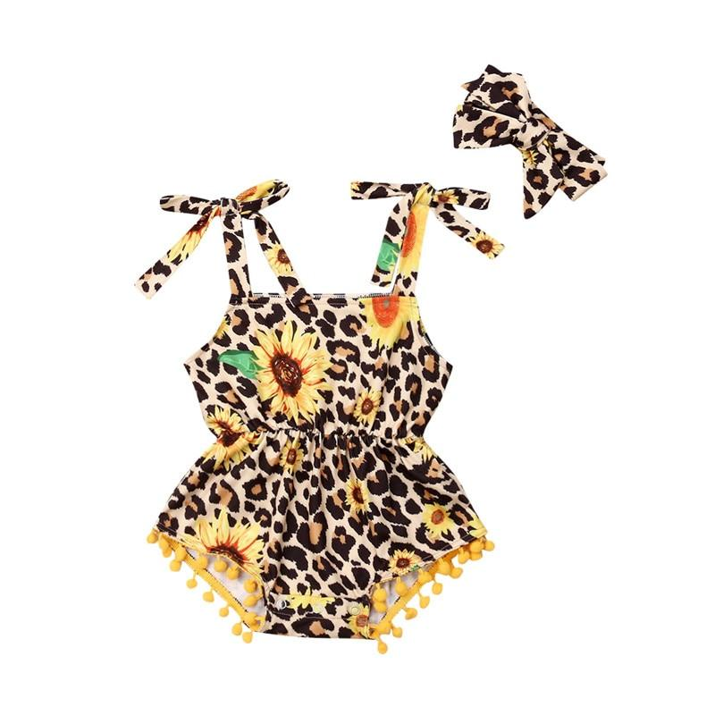 Kid Girl Sunflower Leopard Print Romper Playsuit - Alilight.net