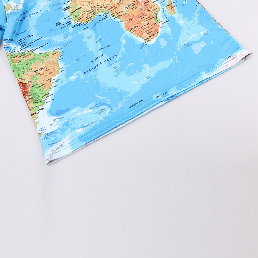 Men 3D World Map Printed Top Tee - Alilight.net