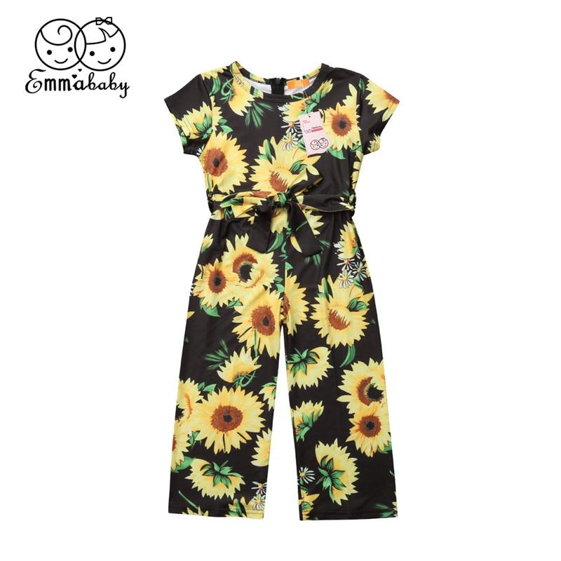 Kids Girls Summer Princess Jumpsuit Sunflower Printed Short Sleeve - Alilight.net