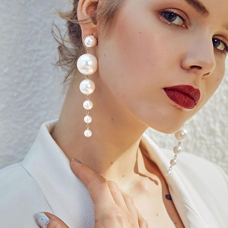 Boucle D'oreille Femme 2019 Fashion Elegant Simulated Pearl Long Earrings - Alilight.net