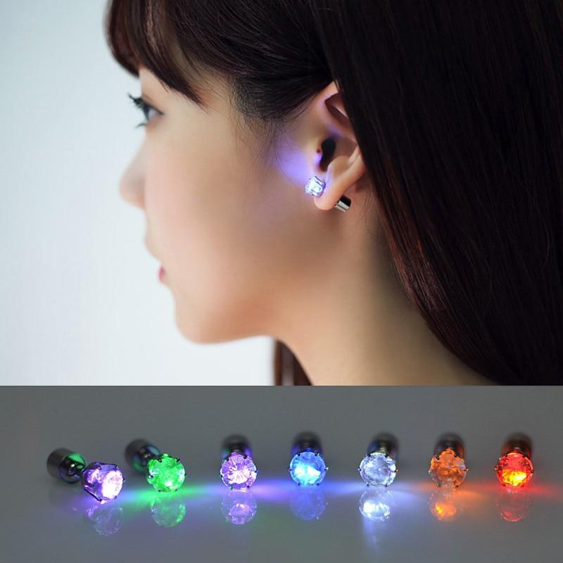 Light Up LED Earrings Hot Christmas Studs Flashing Blinking Stainless Steel - Alilight.net