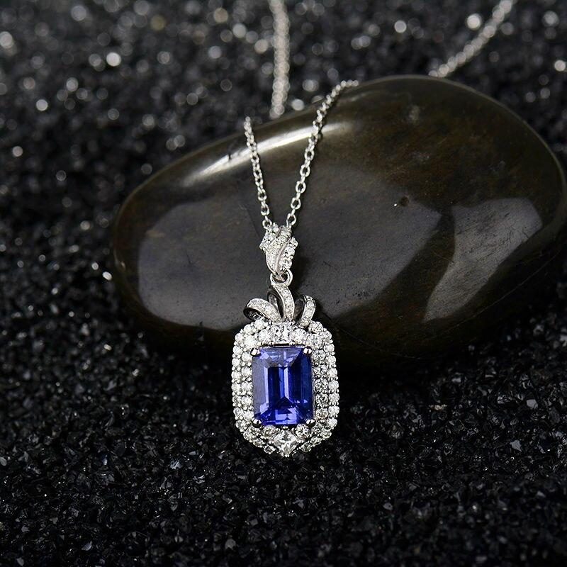 18K White Gold Diamond Emerald cut  Tanzanite  Pendant Necklace - Alilight.net