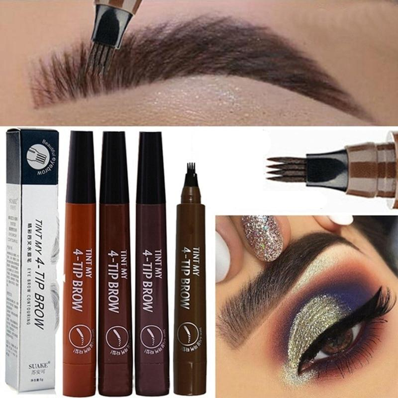 Eyebrow Pen Waterproof Fork Tip Eyebrow Tattoo Pencil Long Lasting - Alilight.net