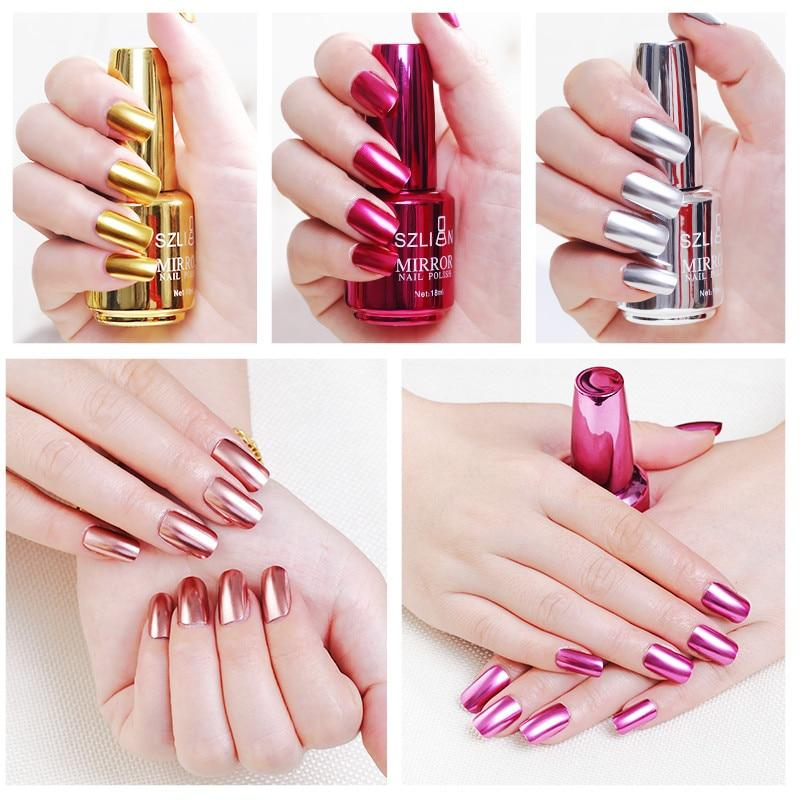 Mirror Effect Metallic Nail Polish Purple Rose Gold Silver Chrome Nail Art Polish - Alilight.net