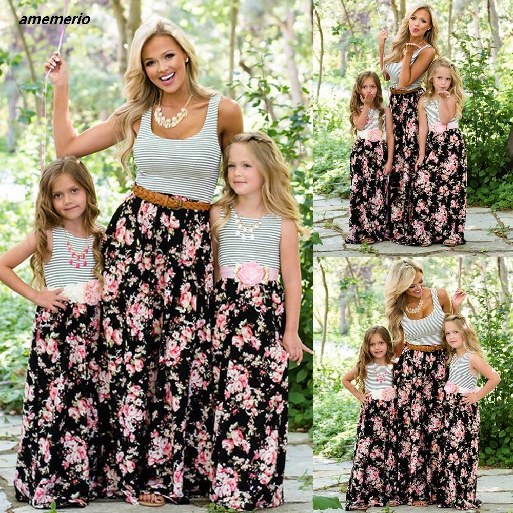 Mommy And Me Family Matching Mom And Girl Daughter Dress - Alilight.net