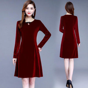 Mother's gold velvet medium length long sleeve dress new middle-aged - Alilight.net