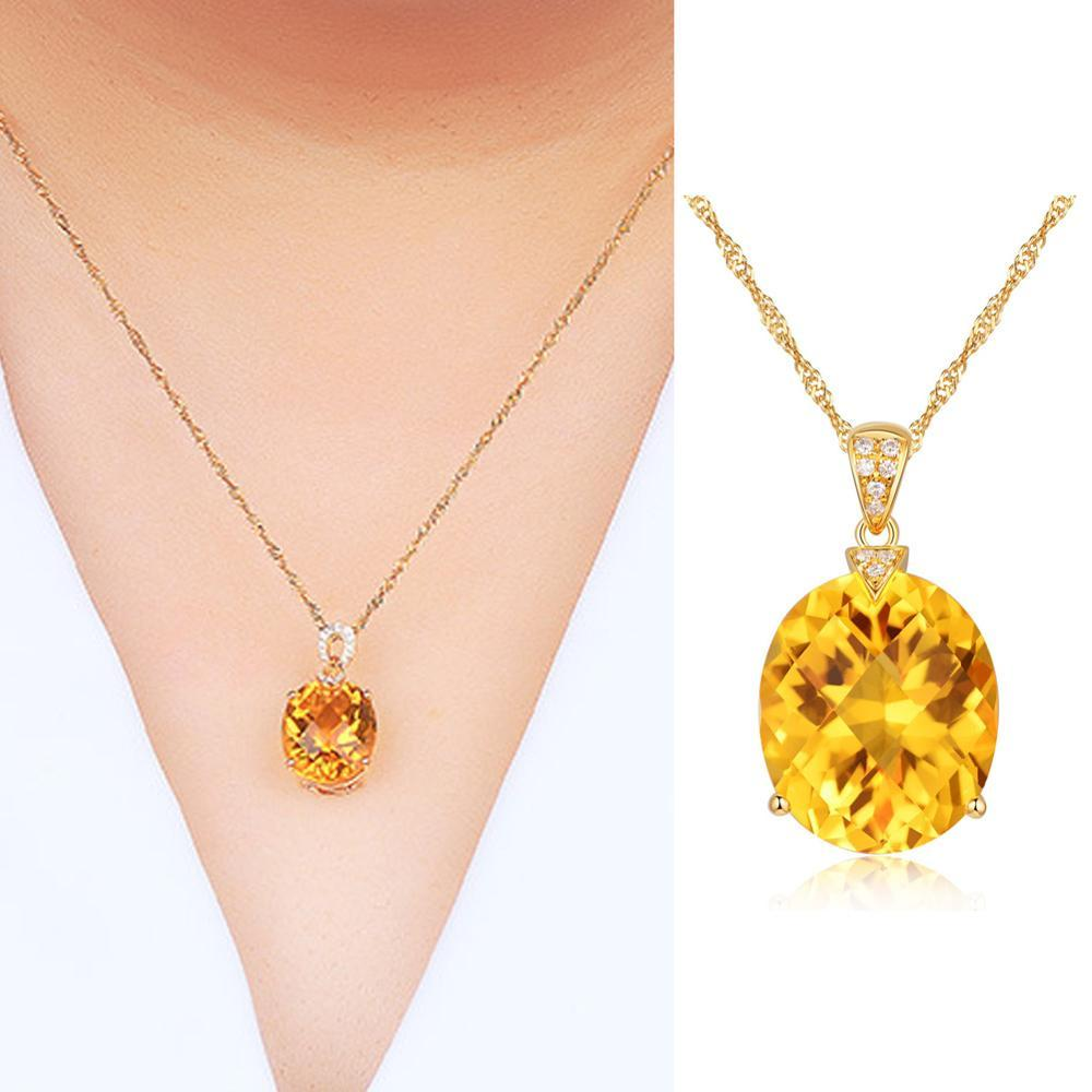 Natural Citrine Jewelry Crystal Gold Color Chain Gemstone - Alilight.net